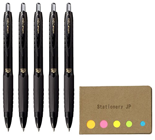 Uni-ball Signo 307 Retractable Gel Ink Pen, Extra Fine Point 0.5mm, Black Ink, 5-Pack, Sticky notes Value Set