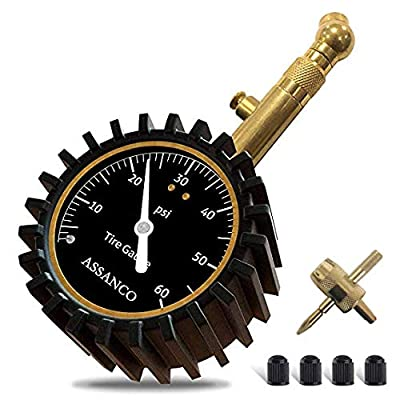 assanco Car Tire Pressure Gauge, Heavy Duty Tire Pressure Gauge, Tire Air Pressure Gauge for Car, Motorcycle, SUV, Bike Tires (0-60 PSI) Bettery-Free tire Pressure Gauge: Automotive