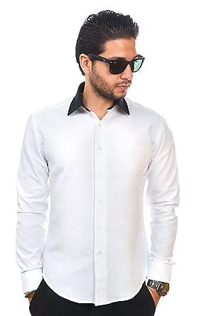 New Mens Dress Shirt White / Black Collar Tailored Slim Fit ...