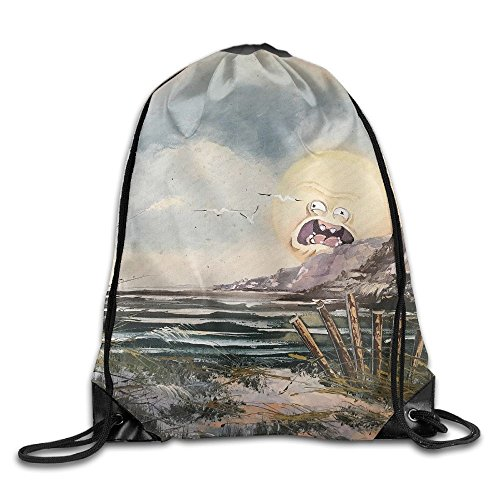 Funny Sun Face In Painting Drawstring Bags Portable Backpack Travel Sport Gym Bag Yoga Runner Daypack Shoe Bags ()
