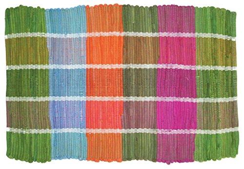Imports Decor Dhurrie 100% Cotton Rug, Multi-Colored Plaid, 20