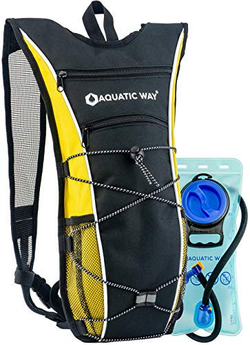 Aquatic Way Hydration Backpack with 2 Liter Water Bladder (Yellow) - Best Pack for Hiking, Biking, Running, Climbing, Marathon Pack