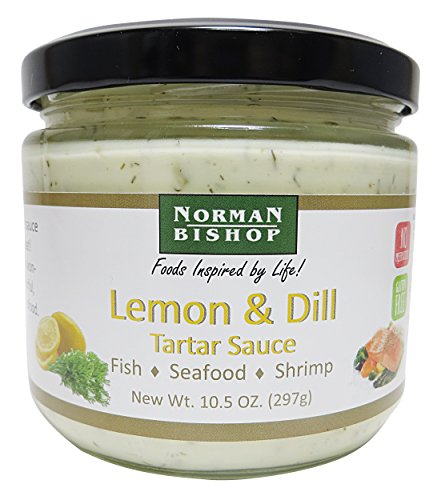 Norman Bishop Lemon and Dill Tartar Sauce, 10.5 oz. Bottle. Great For Fish, Seafood, Shrimp, Dipping