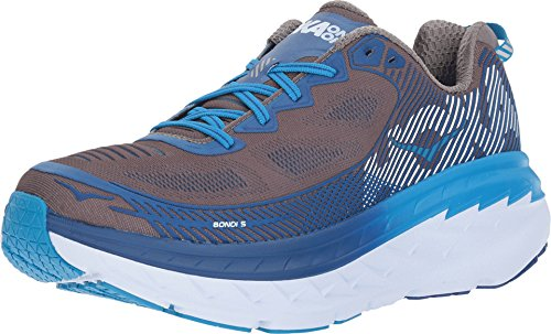 HOKA ONE ONE Mens Bondi 5 Charcoal Gray/True Blue Running Shoe - 9 M
