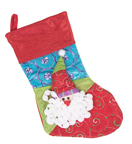 "Plush Patchwork Christmas Stocking by Clever Creations | Red, Blue and Green Design | Stuffed Dimensional Santa Claus Face and Beard | Soft Embroidered Cloth | Festive Holiday Décor | Measures 16.5"" Santa Quilted Stocking"