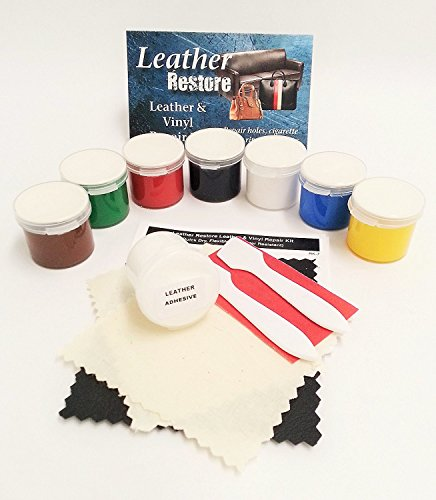 Leather Vinyl Repair Kit For Couches, Furniture, Boots, Shoes, Handbags, Car Seat Upholstery & More, LARGE SIZE KIT 4 oz.