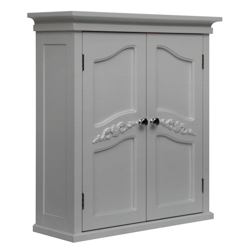 Yvette White 2-door Wall Cabinet by Elegant Home Fashions