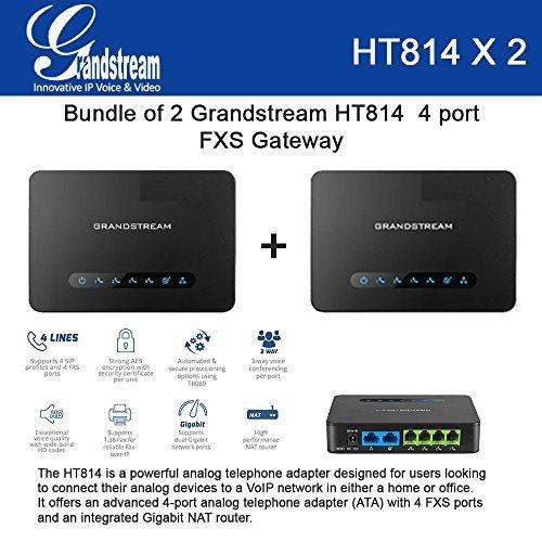 Bundle of 2 Grandstream HT814 4 port FXS Gateway with Gigabit NAT Router