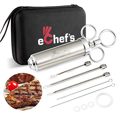 Meat Injector Kit with Case - 304 Stainless Steel Syringe - 3 Marinade Injector Needles for Gourmet and BBQ Meat, Turkey and Chicken Preparation. Large 2 oz. Marinade Capacity with 2 Cleaning Brushes