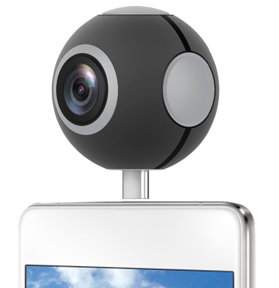 EKEN Pano Live I 360 Degree Dual lens VR Video Camera Real Time Seamless Stitching for Android Phone (Micro USB and Type-C Connector) [並行輸入品] B06Y5QWM1D