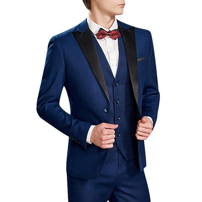 Costume Homme Trois-Pi/èces Veste Gilet et Patalon Slim Fit Formel Classique Bussiness Mariage