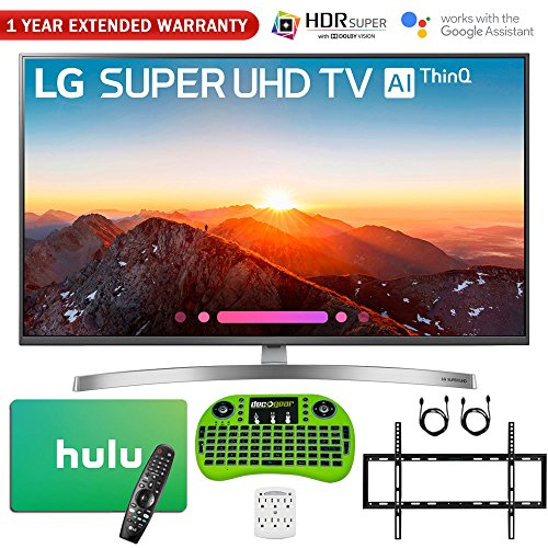 LG 49SK8000PUA 49″-Class 4K HDR Smart LED AI SUPER UHD TV w/ThinQ (2018 Model) + Free $50 Hulu Gift Card + 1 Year Extended Warranty + Flat Wall Mount Kit Ultimate Bundle + More