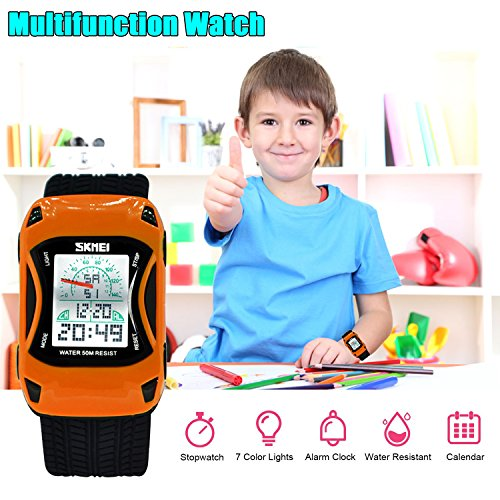 Kids Watches LED Waterproof 3D Car Silicone Children Toddler Wrist Watches Time Teacher Gift for Boys Girls Little Child Orange by Etway (Image #4)