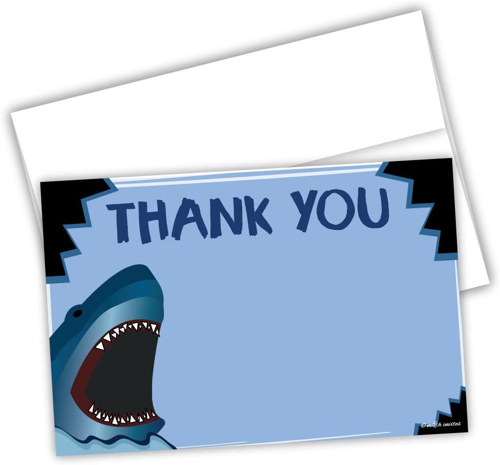 Set of 12 Jawsome Shark Party or Birthday Party Thank You Note Cards with Envelopes Shark Zone Shaped Thank You Cards