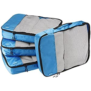 AmazonBasics 4 Piece Packing Travel Organizer Cubes Set – Large, Blue