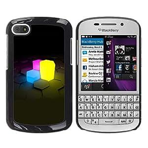 Be Good Phone Accessory // Dura Cáscara cubierta Protectora Caso Carcasa Funda de Protección para BlackBerry Q10 // Neon Cubes