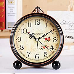 FirstDecor 5 inch European style Morning Clock Silent Quiet Non-ticking Retro Vintage Classic Bedside Alarm Clock, Battery Operated Travel Clock Wall clock Home Decor