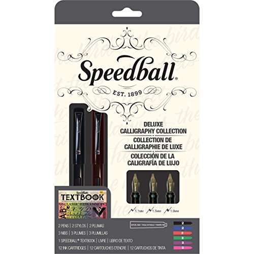 - Speedball 002904 Calligraphy Deluxe Fountain Pen Set Pen Set - With 2 Pens, 3 Nibs, and  12 Assorted Ink Cartridges