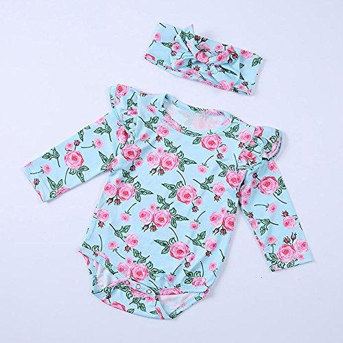 b75c090d0ee Birdfly Baby Girls Boho Vintage Floral Romper Bodysuit + Bowknot Headband  Infant One-piece Cute