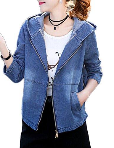 Blansdi Damen Mädchen Frauen Herbst Beiläufig Stilvoll Zipper Hoodied Distressed Gewaschene Lose BF Jeans Denim Loch Jeansjacke Jacket Oberbekleidung Mantel Coat
