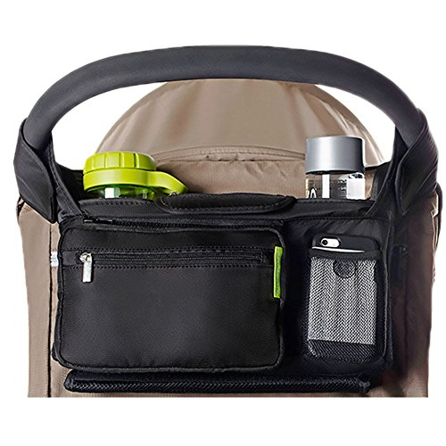 YOYOBABY Black Stroller Organizer Premium Deep Cup Holders for Smart Moms Fits All Strollers Holders Extra-Large Storage Space for Phones Wallets Diapers Books Toys Pads