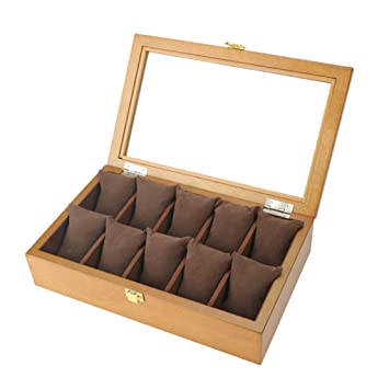 10 Relojes de Rejilla Organizadores de Cajas de Almacenamiento de exhibición de Joyas Caja de exhibición con Porta Almohadas Vitrina, Hebilla de Metal con ...