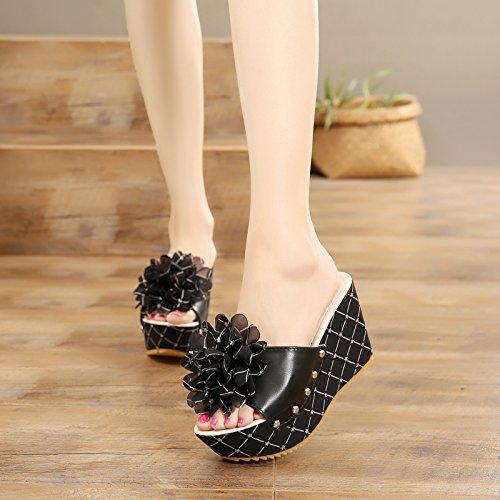 FLYRCX damas zapatillas de verano moda casual al aire libre playa zapatos de tacón alto antideslizante flores dulce sandalias inferior grueso. d
