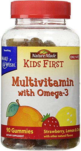 Nature Made KIDS FIRST Multivitamin with Omega-3 Gummies Strawberry, Lemon and Orange 90 Count