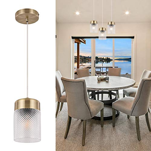 TeHenoo Modern Pendant Lighting Glass Shade Contemporary Pendant Lighting Tube Shade Ceiling Hanging Light Fixture for Living Room, Bedroom, Kitchen, Loft Art Deco, Study, Bar, Café