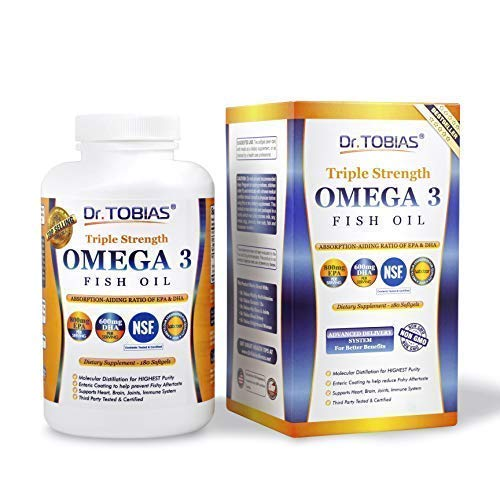 - Dr Tobias Omega 3 Fish Oil Triple Strength, Burpless, Non-GMO, NSF-Certified, 180 Counts