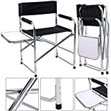 CASART Foldable Aluminum Directors Chair Camping Fishing Garden Chairs w/ Table + Arm Rest