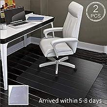 SHAREWIN Office Chair Mat for Hard Floors,Heavy Duty Clear Wood/Tile Floor Protector PVC Transparent (47''×36''(2 PCS))