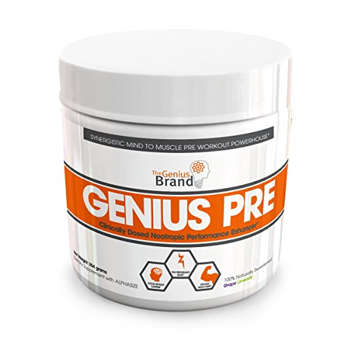 GENIUS PRE WORKOUT – All Natural Nootropic Preworkout Powder & Caff Free Nitric Oxide Booster w/ Beta Alanine, Alpha...