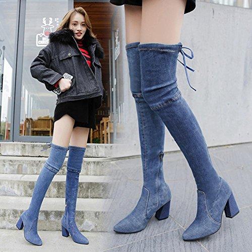 alto botas para de rodilla Botas Azul moda sobre tacón de Punta Zapatos delgadas mujer puntiaguda Hunpta la hasta q8ORHH