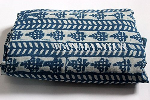 Handicraftofpinkcity 2.5 Yards H andmadeBlue New Indigo Dye Hand Block Print Fabric Cotton Dabu Print Fabric Indigo Color pure cotton Fabric Sanganeri Fabric