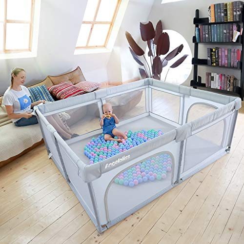 51O9v4B7SeL - ANGELBLISS Baby Playpen, Playpens For Babies, Kids Safety Play Center Yard Portable Playard Play Pen With Gate For Infants And Babies,Extra Large Playard, Indoor And Outdoor, Anti-Fall Playpen(Gray)