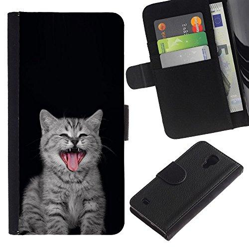 EuroCase - Samsung Galaxy S4 IV I9500 - kitten nebelung Persian kurilian bobtail - Cuero PU Delgado caso cubierta Shell Armor Funda Case Cover