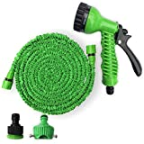 YAVOCOS Save Storage Space with Expandable Garden Hose with 7-in-1 Spray Gun Nozzle for All Your Watering Needs