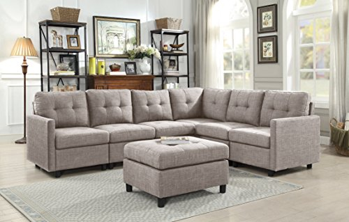(DAZONE Modular Sectional Sofa Assemble 7-Piece Modular Sectional Sofas Bundle Set with Cushions, Easy to Assemble for Left & Right Arm Chair,Armless Chair, Corner Chair,Ottomans Table Grey)
