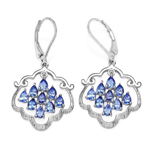 2.50 Carat Genuine Tanzanite .925 Sterling Silver Earrings