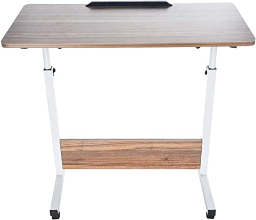 Household Can Be Lifted and Folded Folding Computer Desk with Moveable Table Wheel and Sturdy T-Shaped Steel Pipe and Rotate 180 Degrees Desktop Board Yellow