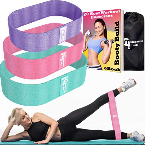 Magnetic Think Hip Resistance Bands for Legs and Butt - Exercise Bands, Anti Slip Booty Bands, 3 Levels Stretch, Wide Fitness Workout Bands, 2019 Upgrade Sports Elastic Loop Bands