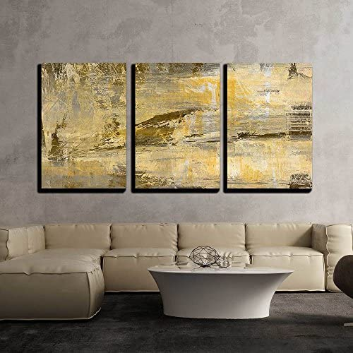 Art Abstract Acrylic Background in Beige Yellow Grey and Brown Colors x3 Panels