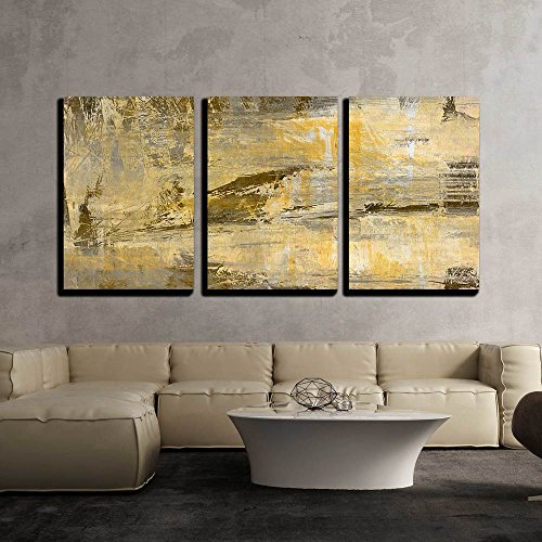"wall26 - 3 Piece Canvas Wall Art - Art Abstract Acrylic Background in Beige, Yellow, Grey and Brown Colors - Modern Home Art Stretched and Framed Ready to Hang - 24""x36""x3 Panels"