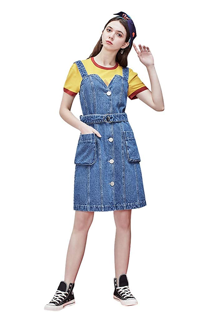 most fashionable shop best sellers best place Drasawee Women's Slim Fitted Denim Overall Dress Suspender ...