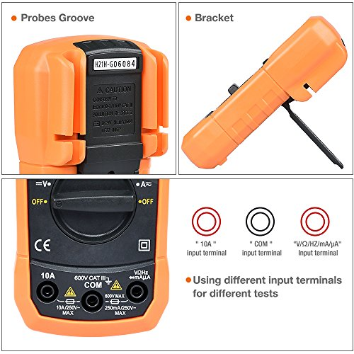 Digital Multimeter, BEBONCOOL Auto-Ranging AC DC Voltmeter, Electronic Amp Volt Ohm Voltage Tester with Diode and Continuity Test Scanners, Backlight LCD Display (Orange) by BEBONCOOL (Image #4)