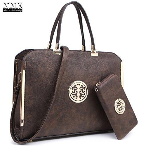 MMK collection Women Fashion Pad-lock Satchel handbags with wallet(2553)~Designer Purse for Women ~Multi Pocket ~ Beautiful Designer Handbag Set (MA-KK-13-6900W-BZ)
