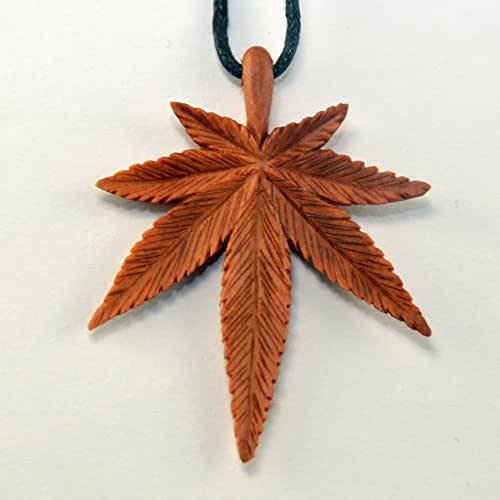 Sweet Cannabis leafs Pendant - Hand Carved Pendant - Necklace - Pendant