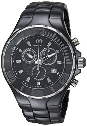 Technomarine Men's Cruise Quartz Watch with Ceramic Strap, Black, 23 (Model: TM-115318)