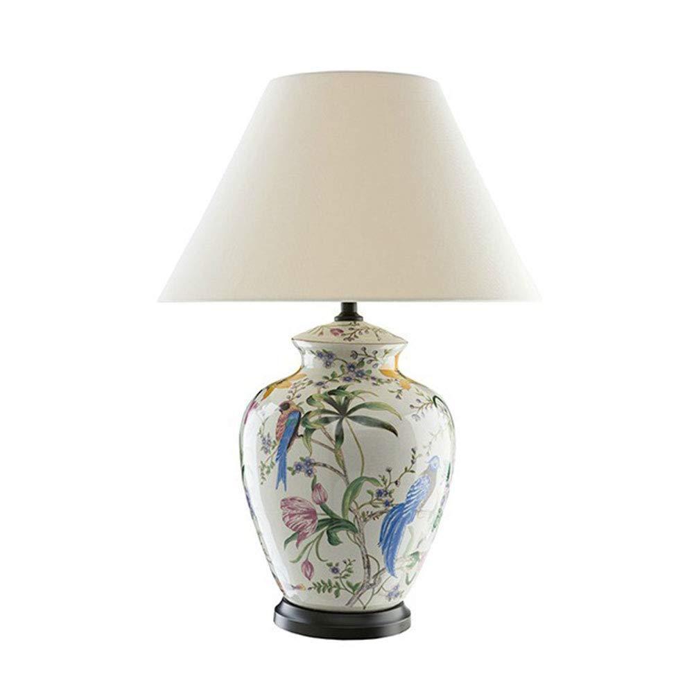 Fleur Et Oiseau Peints /à La Main Vernis /à Ongles Grande Lampe De Table en C/éramique Salon /étude Chambre Lampe De Table en C/éramique Chaude